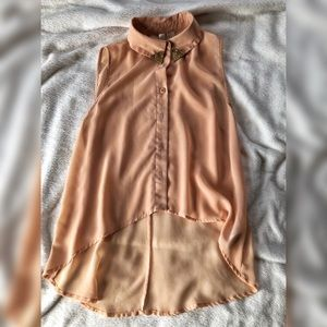 Peach Sleeveless Button Up With Gold Collar